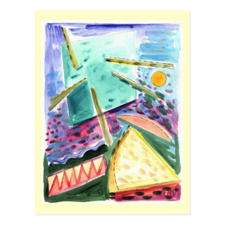 Exploration of a Space Primitive Watercolor Postcard