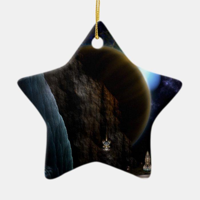 Exploration Of Space Fractal Art Ceramic Ornament