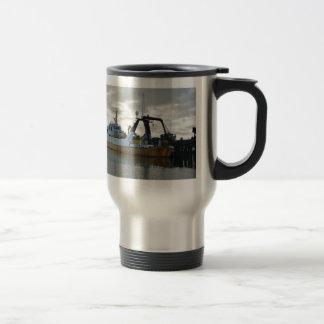 Exploration ship at dawn. coffee mug