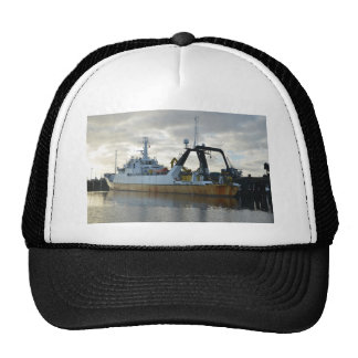 Exploration ship at dawn. trucker hat