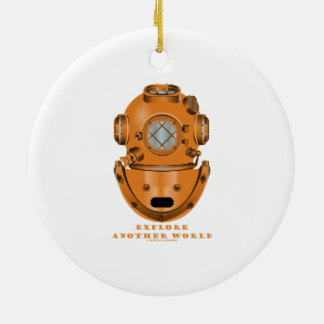 Explore Another World (Deep Diving Helmet) Double-Sided Ceramic Round Christmas Ornament