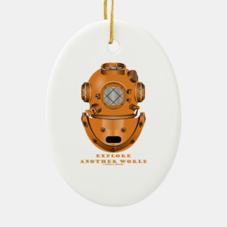 Explore Another World (Deep Diving Helmet) Double-Sided Oval Ceramic Christmas Ornament