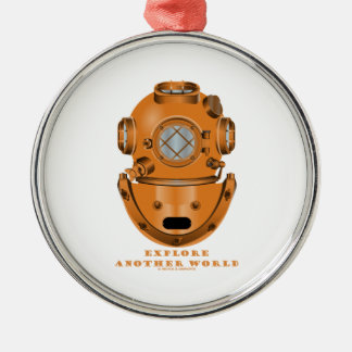 Explore Another World (Deep Diving Helmet) Round Metal Christmas Ornament
