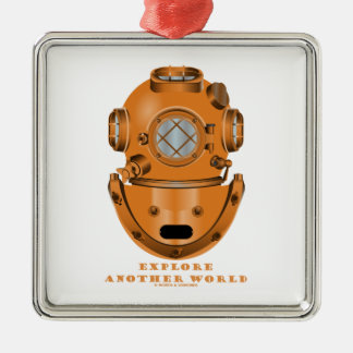 Explore Another World (Deep Diving Helmet) Square Metal Christmas Ornament
