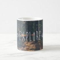 explore, inspirational, forest, photography, motivational, freedom, sunset, travel, inspire, vintage, woods, quotes, mug, Caneca com design gráfico personalizado