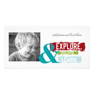 """explore discover learn"" photocards card"