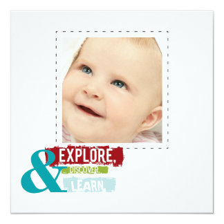 """""""explore discover learn""""  square photo cards"""