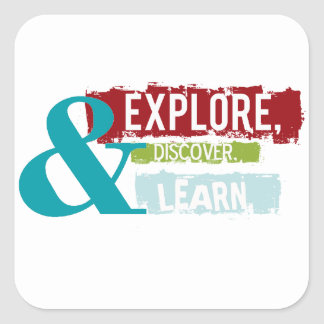 """explore discover learn"" stickers"