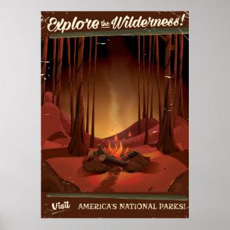 ¡Explore el desierto! Poster del fuego del campo Póster