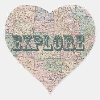 Explore - las citas del mapa del vintage pegatina en forma de corazón