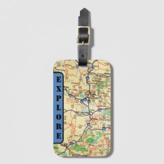 Explore Map Luggage Tag