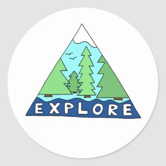 Explore Nature Outdoors Wilderness Mountains Classic Round Sticker