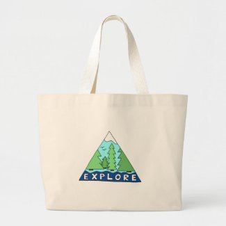 Explore Nature Outdoors Wilderness Mountains Large Tote Bag
