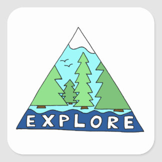 Explore Nature Outdoors Wilderness Mountains Square Sticker