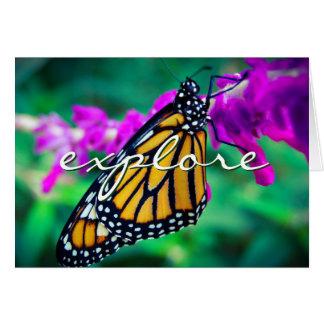 """""""Explore"""" orange butterfly photo blank inside card"""