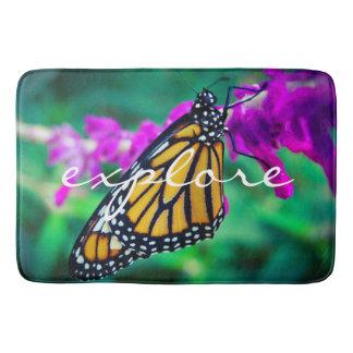 """Explore"" Quote Orange Monarch Butterfly Photo Bathroom Mat"