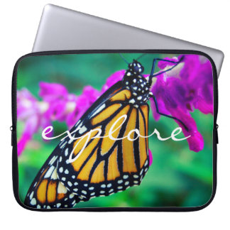 """Explore"" Quote Orange Monarch Butterfly Photo Computer Sleeve"