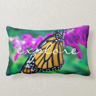 """Explore"" Quote Orange Monarch Butterfly Photo Lumbar Pillow"