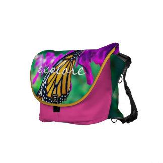 """Explore"" Quote Orange Monarch Butterfly Photo Messenger Bag"