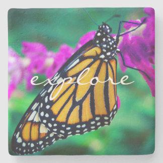 """""""Explore"""" Quote Orange Monarch Butterfly Photo Stone Coaster"""