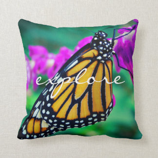 """""""Explore"""" Quote Orange Monarch Butterfly Photo Throw Pillow"""
