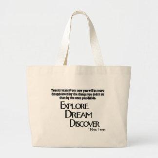 Explore, soñe y descubra el bolso bolsa tela grande