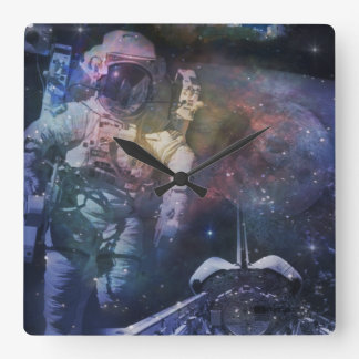 Explore the Beauty of Space Square Wall Clock