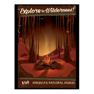 Explore the wilderness! Camp fire poster Postcard