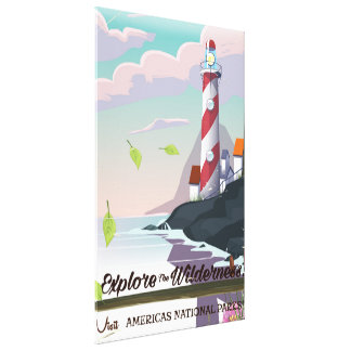 Explore the wilderness lightouse canvas print