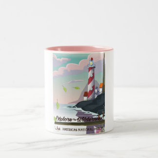 Explore the wilderness lightouse Two-Tone coffee mug