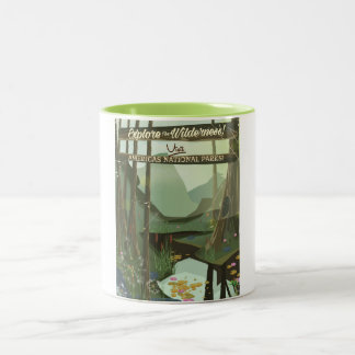 Explore the wilderness! See USA National Parks Two-Tone Coffee Mug