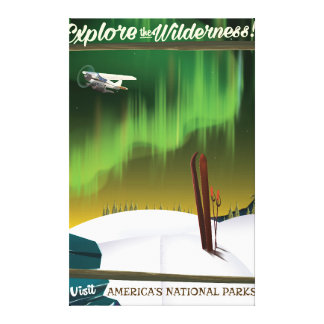 Explore the wilderness USA Ski travel poster Canvas Print