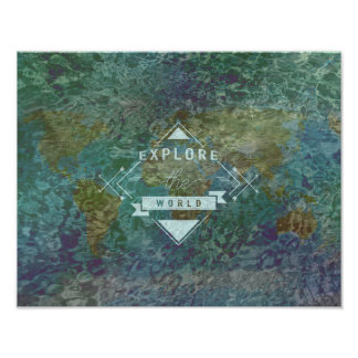 Explore the world map & water poster