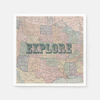 Explore Travel Quote Napkin