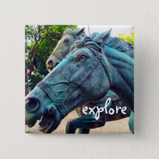 """Explore"" turquoise blue Asian horse statue photo Button"