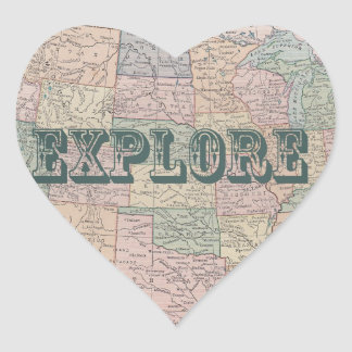 Explore - Vintage map quotes Heart Sticker