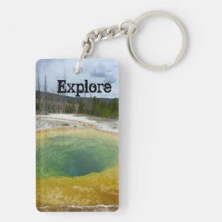 Explore (Yellowstone N.P.) Double-Sided Rectangular Acrylic Keychain