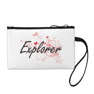 Explorer Artistic Job Design with Hearts Coin Wallet