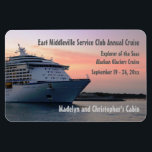 """Explorer at Evening Custom Cabin Door Marker Magnet<br><div class=""""desc"""">Customize one of these for each cabin booked for your group or family cruise! Stateroom door marker features a voyager class ship at sunset. Makes a thoughtful bon voyage gift, too. Mark YOUR stateroom door with a Stateroom Door Marker, and find it easily in that long, long row of look...</div>"""