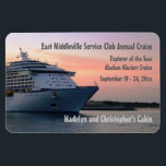 "Explorer at Evening Custom Cabin Door Marker Magnet<br><div class=""desc"">Customize one of these for each cabin booked for your group or family cruise! Stateroom door marker features a voyager class ship at sunset. Makes a thoughtful bon voyage gift, too. Mark YOUR stateroom door with a Stateroom Door Marker, and find it easily in that long, long row of look...</div>"