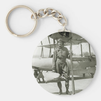 Explorer Byrd and Seaplane: early 1900s Basic Round Button Keychain