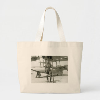 Explorer Byrd and Seaplane: early 1900s Large Tote Bag