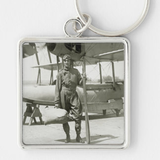 Explorer Byrd and Seaplane: early 1900s Silver-Colored Square Keychain