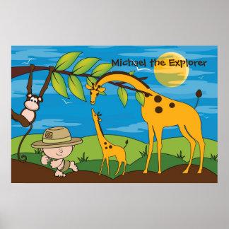 Explorer on a Jungle Safari Kids Room Decor Poster