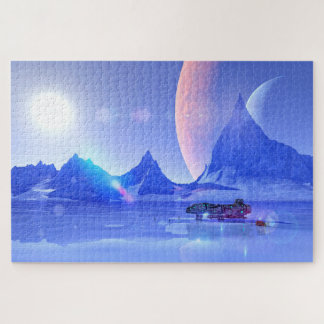 Exploring an Ice Planet Sci-Fi Art Jigsaw Puzzle
