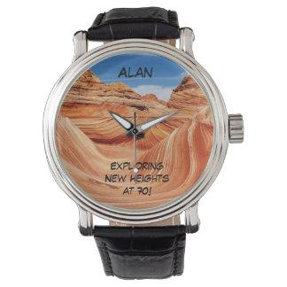 Exploring New Heights Wrist Watch, 70th Birthday Wristwatch