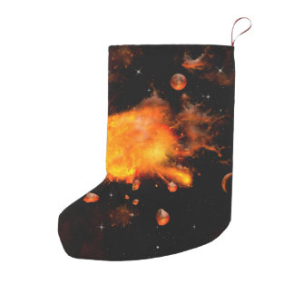 Explosion a planet small christmas stocking