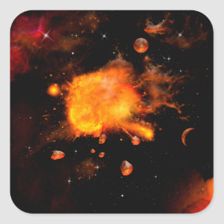 Explosion a planet square sticker