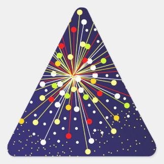 Explosión abstracta colorida pegatina triangular