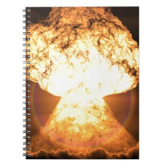 Explosión atómica libro de apuntes con espiral